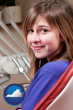 a smiling dental clinic patient - with Virginia icon